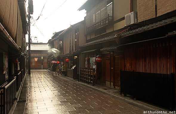 Wet street Gion Kyoto Japan