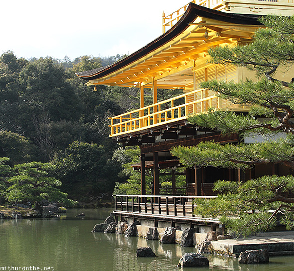 Kinakuji shrine lake Kyoto Japan