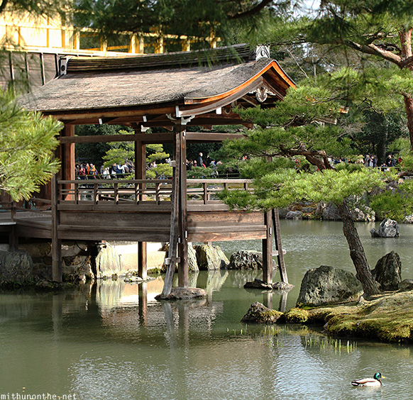 Kinakuji shrine pond Kyoto Japan