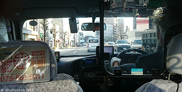 Kyoto taxi ride from backseat Japan