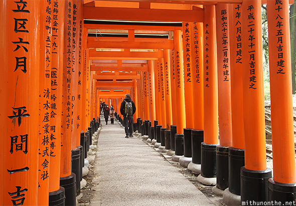 Torii pillar wooden names Kyoto Japan
