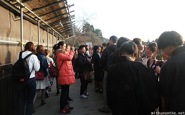 Tourists Kiyomizu Dera winter Japan
