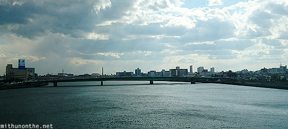 Japanese city river bridge