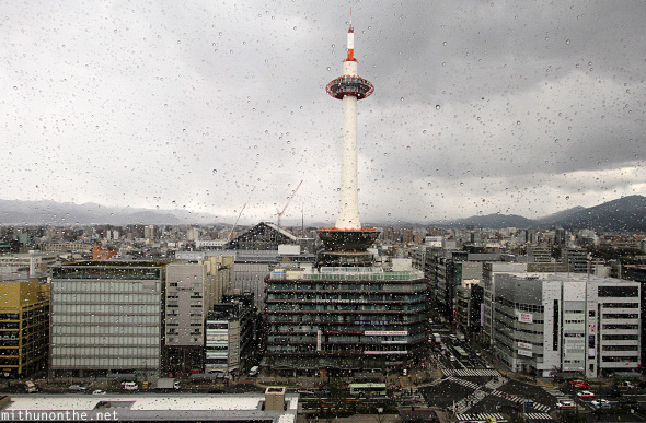 Kyoto tower from station rain Japan