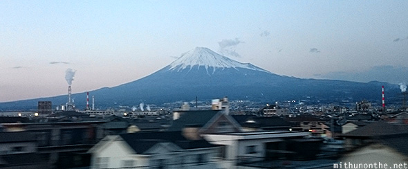 Mount Fuji from bullet train Japan