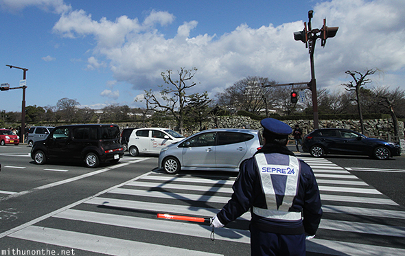 Traffic crossing Himeji City Japan