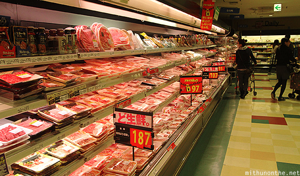 Meat section supermarket Japan