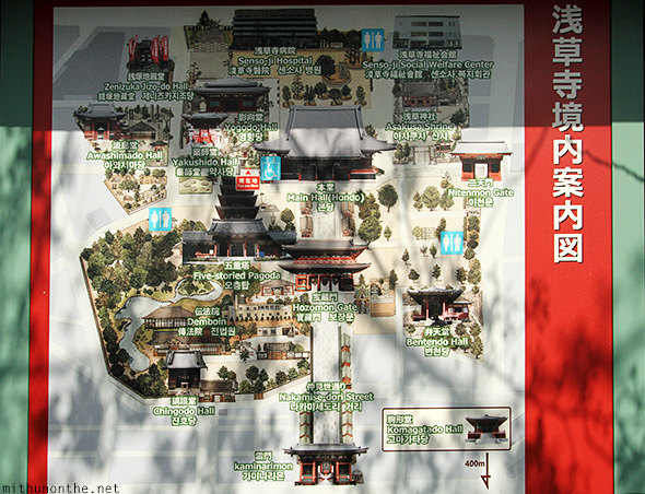 Sensoji map Asakusa attractions Japan