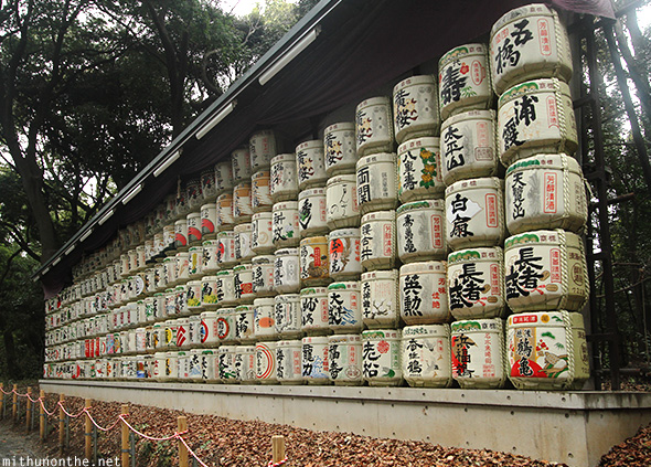 Sake barrels Meiji shrine Japan