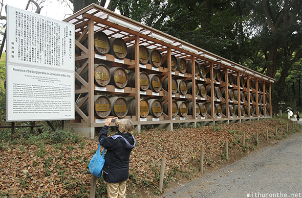 Wine barrels Meiji shrine Japan
