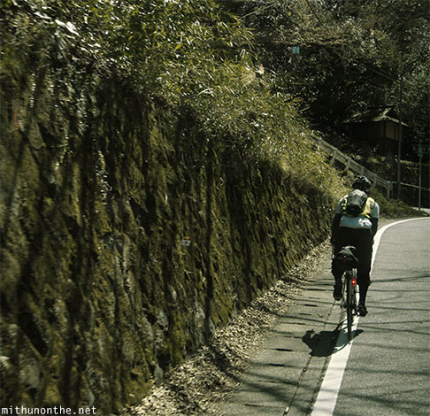 Cyclist Hakone hill ride Japan