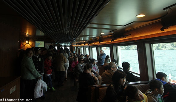 Inside Hakone sightseeing cruise ship