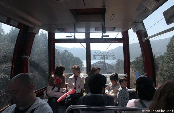 Inside cable car Hakone Ropeway Japan