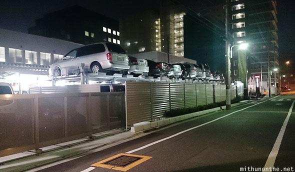 Police station cars stacked Japan