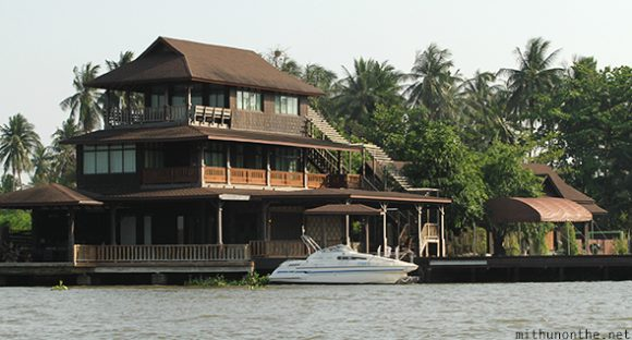 Beautiful Thai house by river Amphawa