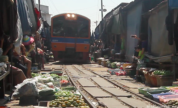 Maeklong railway market train
