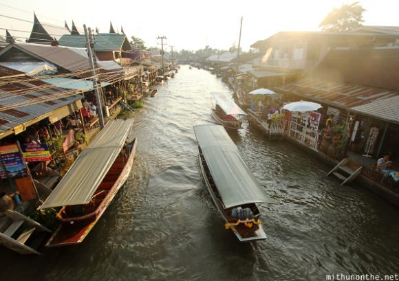 Amphawa floating market sunset Thailand