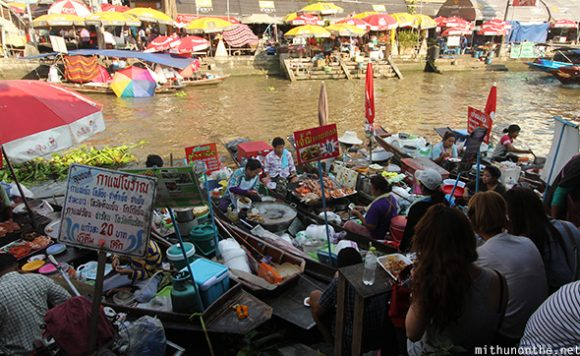 Boat food vendors Amphawa floating market