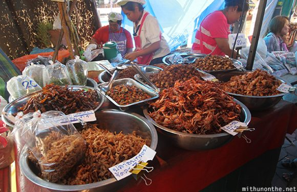 Fried seafood Amphawa floating market Thailand