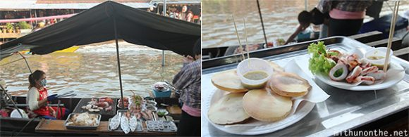 Grilled seafood Amphawa boat vendor
