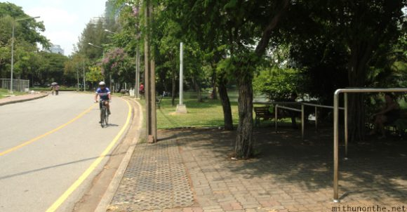 Cycling in Lumpini park Bangkok