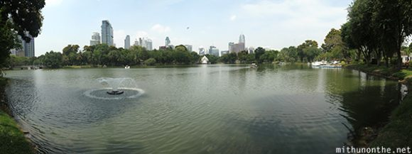 Lumpini lake panorama Bangkok city