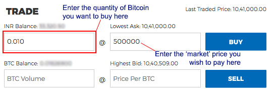 Enter price quantity Bitcoin Koinex