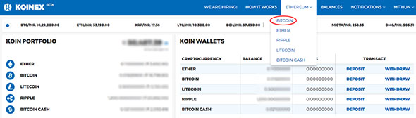 Select Bitcoin Koinex
